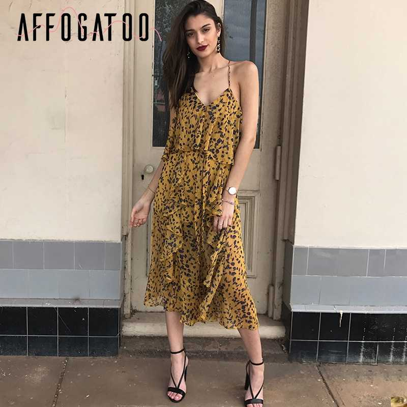 Affogatoo Print ruffle backless chiffon jumpsuit women Cold shoulder  sleeveless sexy jumsuit Casual strap summer playsuits 2606eb0211ca