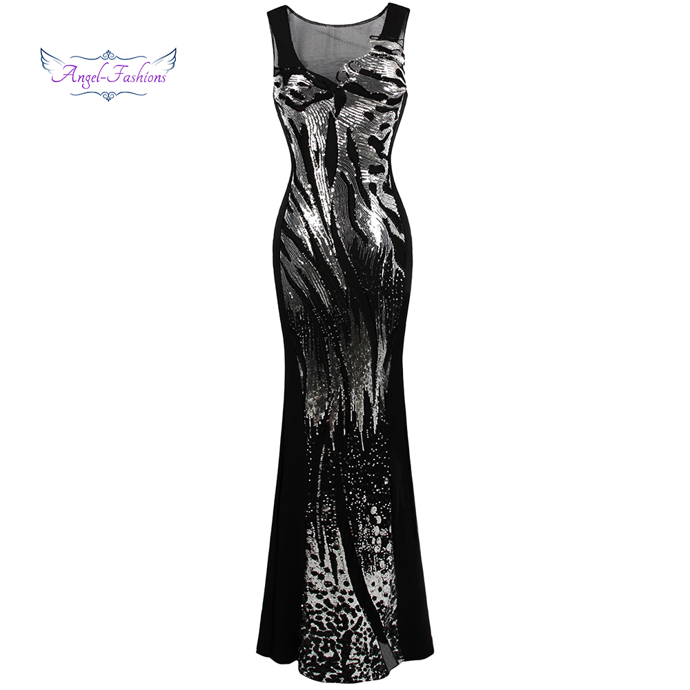 Angel-fashions Sheer Round Neck Sequin Splicing Backless Mermaid Long   Evening     Dresses   Silver 348
