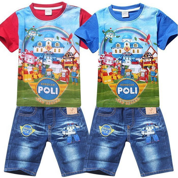 New POLI ROBOCAR Boys Clothing Set Cartoon Cotton Shirt + Jeans 2 Pieces Suit Summer Kids Clothes Sets Baby Children's Clothing