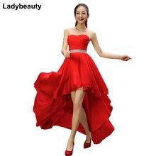 Ladybeauty короткое платье подружки невесты с поясом из кристаллов без рукавов Плиссированное шифоновое короткое спереди длинное сзади платье размера плюс для выпускного вечера