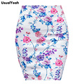 2017 Summer New Vintage Floral Printed Pencil Skirt High Waist Elastic Slim Mini Skirts Plus Size Work Wear Bandage Saia
