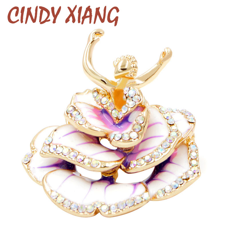 CINDY XIANG New Design 2018 Enamel Dancing Girl Brooches for Women Gold Color Beautiful Lady Brooch Pin Fashion Jewelry Gift