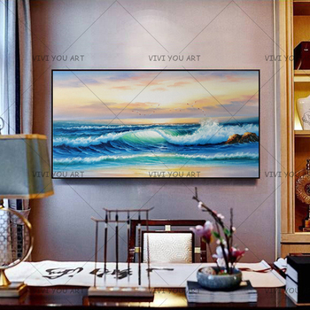 2019 New 100% Handmade High Quality Modern Abstract Fine Artwork Canvas Home Decor Sky Seaside Bedroom Wall Oil Painting