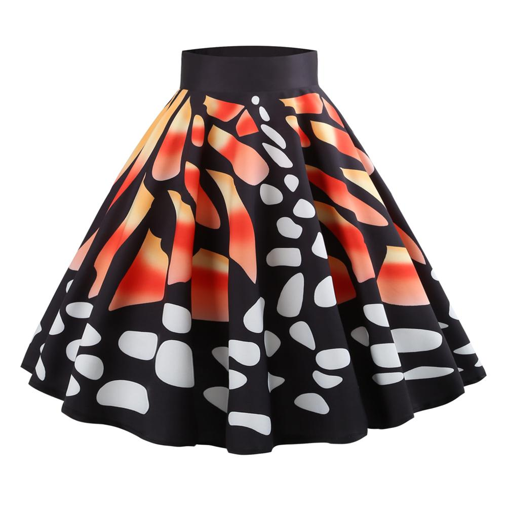 2018 Fall New Hepburn Vintage Elegant Style Ladies Retro Multi Color Flower Floral Print High Waist Midi Skirt Femme Vestidos