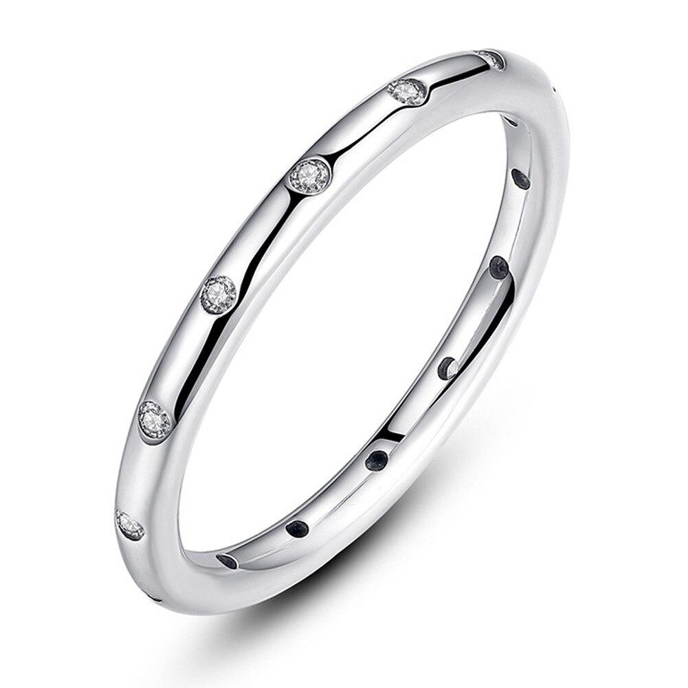 FGHGF День Святого Валентина предложения стерлингового серебра 925 капельки стекируемые пальцев Классический кольцо