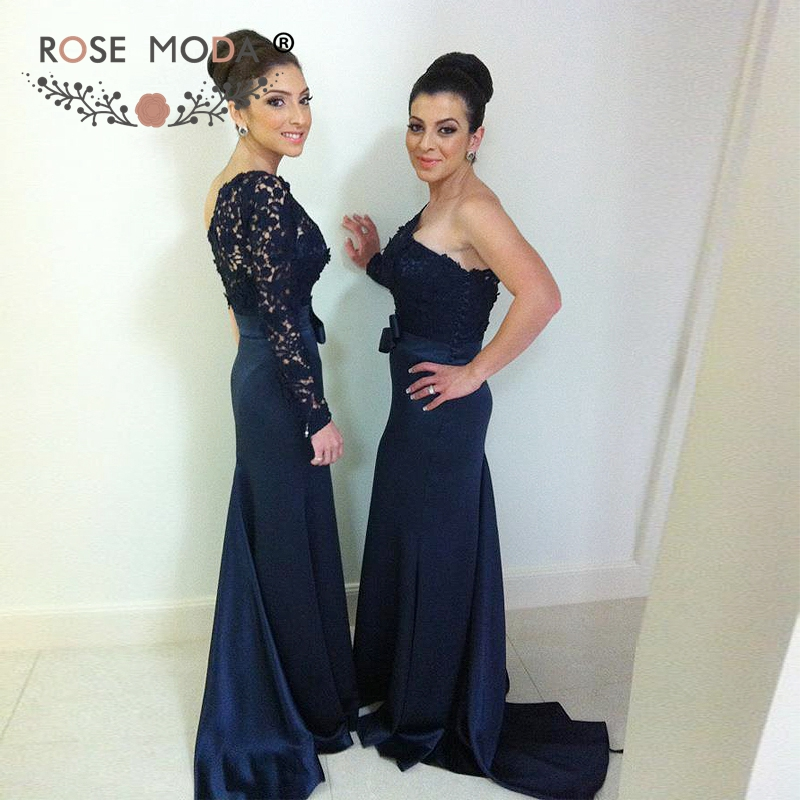 Rose Moda One Shoulder Long Sleeve Dark Navy Mermaid   Bridesmaid     Dress   with Bow Lace Sleeves Maid of Honor   Dress