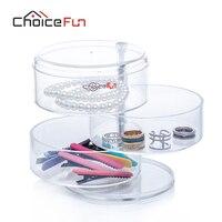 CHOICEFUN Simple Acrylic Cosmetic&Jewelry Storage Box High Quality Round Transparent Plastic Box Jewelry Organizer SF-3473