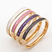 Высокое качество красочный криолит браслет из розового Золота цвета pulseras mujer, марка дизайн повседневная роскошный женщины браслеты и браслеты