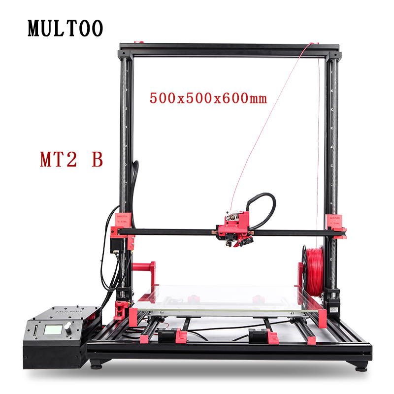 MULTOO MT2 impresora de gran tamaño de impresión de precisión 500*500*600 Full Metal Single Dual 3D impresora tornillo de la bola precisa