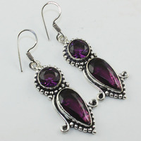 Amethysts Earrings Silver Overlay Over Copper 61 Mm E00888