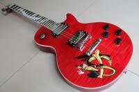 Livraison Gratuite LP Personnalisé Slash Modèle Électrique Guitare Abalone Serpent Incrustation En Cerise Rouge 120410