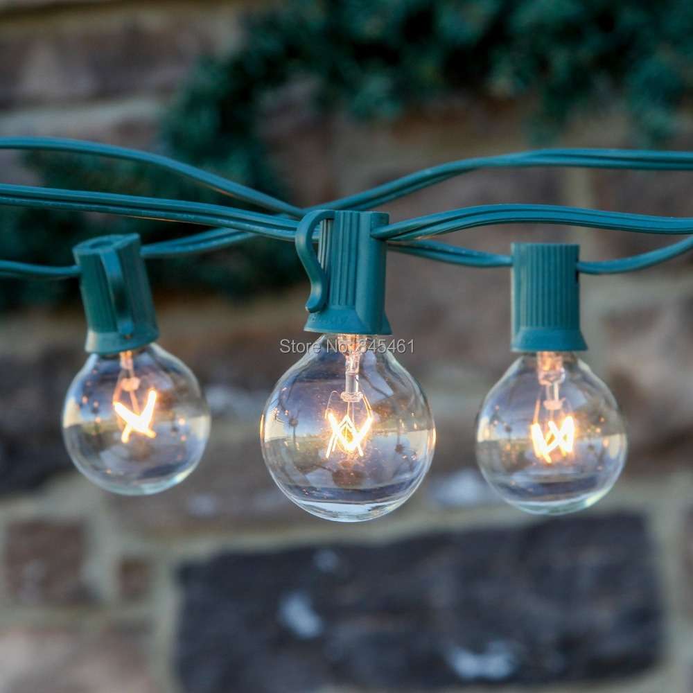 Clear Globe String Lights Set Of 25 G40 Bulbs : 40sets= 1000bulbs Clear Globe G40 String Lights Set with 40*25 G40 Bulbs Patio Lights & Festive ...