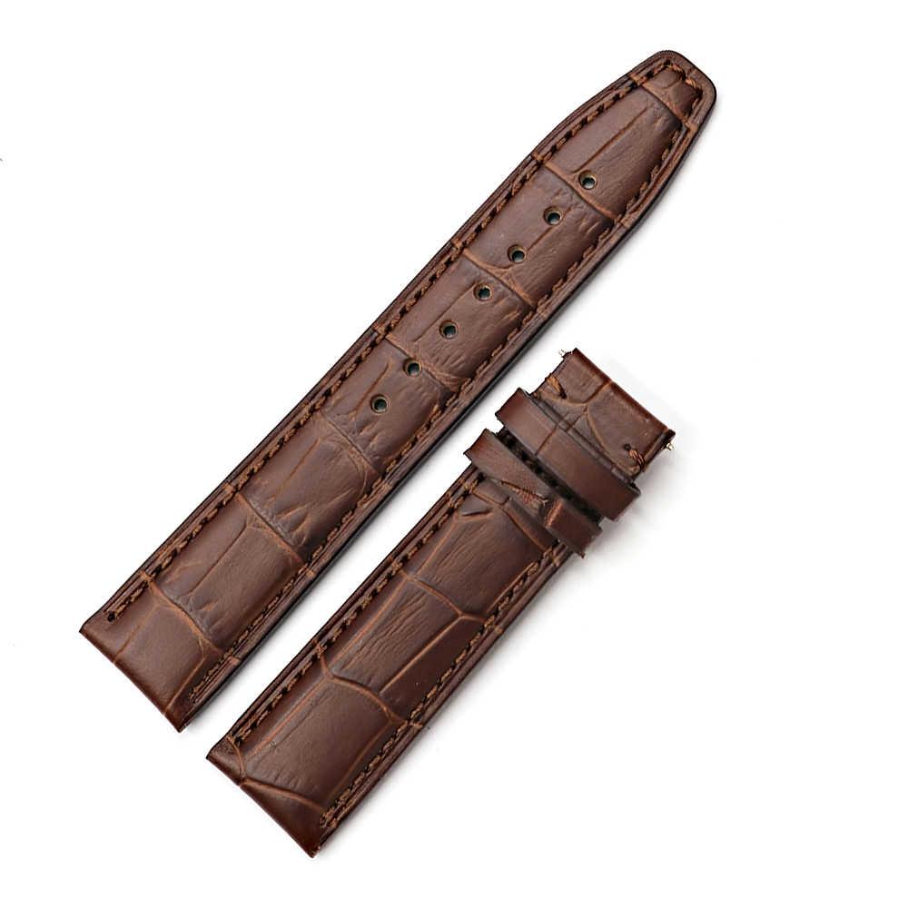 CARLYWET ขายส่ง 20 21 22 มิลลิเมตรสีน้ำตาลสีดำหนังแท้สายรัดข้อมือเข็มขัดสร้อยข้อมือสำหรับ IWC Tudor