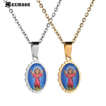 67338f08319d Maxmoon oro católica Virgen María Ángel colgante de collar de acero  inoxidable Maria colgantes y collares para joyería religiosa
