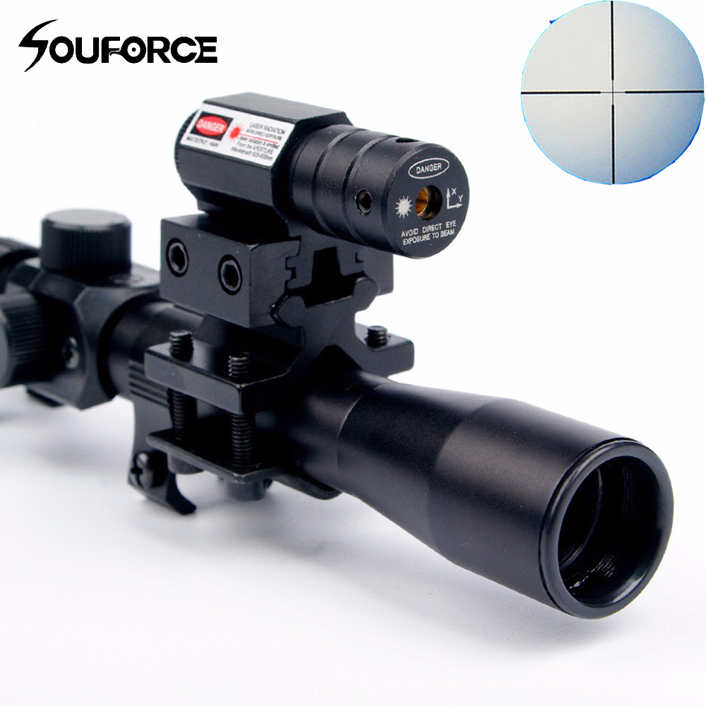 US 4x20 Optics Scope Crossbow Riflescope With Red Dot Laser Sight And 11mm Rail Mounts For 22 Caliber Rifles Airsoft Hunting