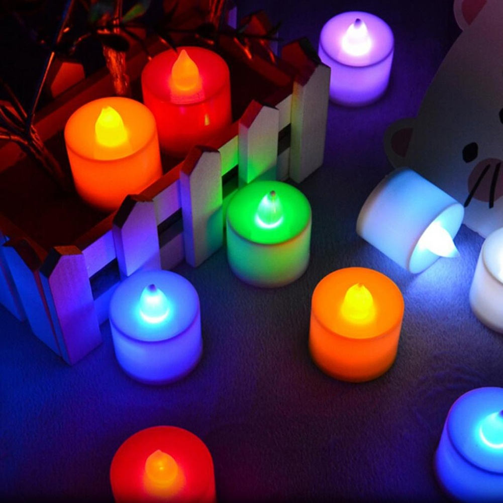 Great Cheap 10 PCS LED Candle 6 Colors Flameless Flickering LED Tea Light Battery Candles Wedding Party Holiday Decoration