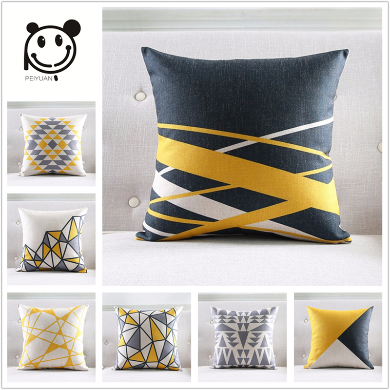 PEIYUAN Nordic Style Cushion Cover Gray Yellow Decorative
