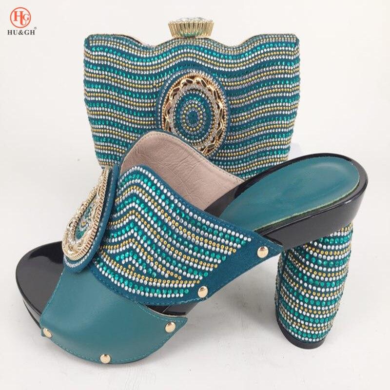 Темно-зеленый Африканская обувь и сумочка Комплект Высокая обувь на каблуке итальянский с соответствующими Лидер продаж Дамская обувь и су...