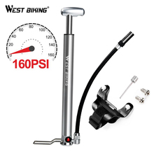WEST BIKING Aluminum alloy 160 PSI Bicycle Pump Bike Floor Schrader Presta Valve Handle Inflator Front Fork