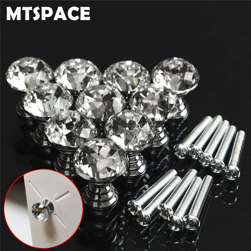 MTSPACE 10pcs/Set 20mm Crystal Glass Clear Cabinet Knob Drawer Pull Handle Kitchen Door Wardrobe Hardware Crystal+Zinc Alloy clear crystal glass cabinet knob door knob crystal knob