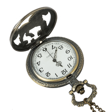 For Men Women Bronze Hollow Horse Case Design Mechanical Pocket Watch With Necklace Chain Pendant Jewelry Gift цены онлайн