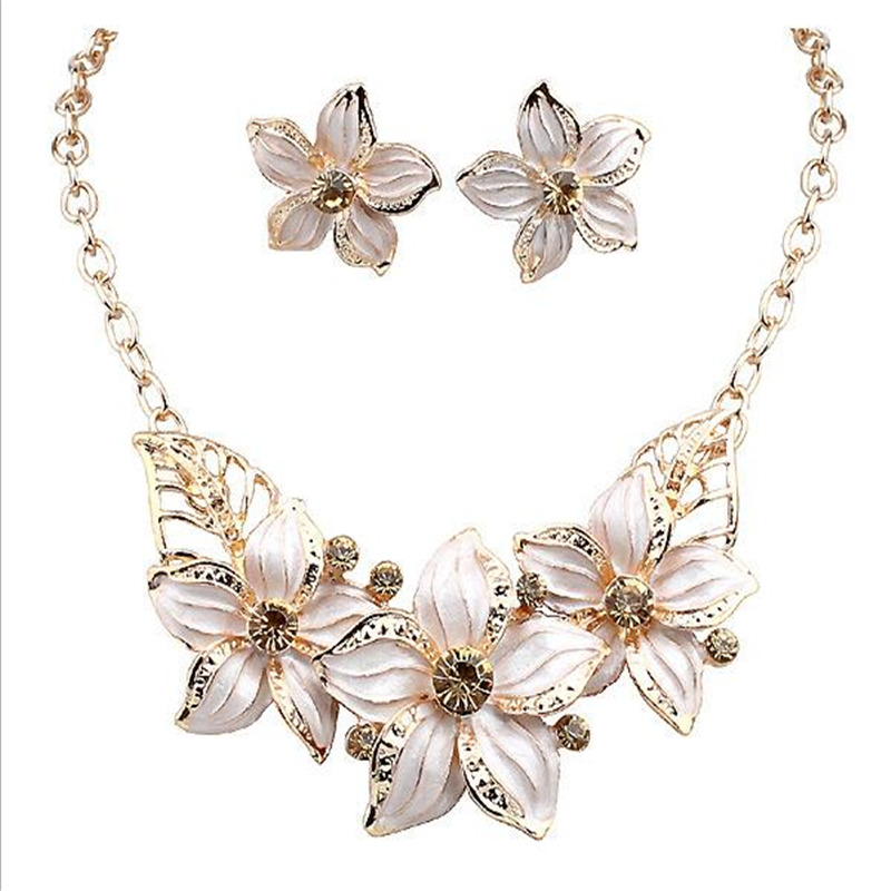 New Jewelry Sets Necklace Earrings Crystal Enamel Flower African Maxi Statement Wedding Bridal Pendant Dress Accessories