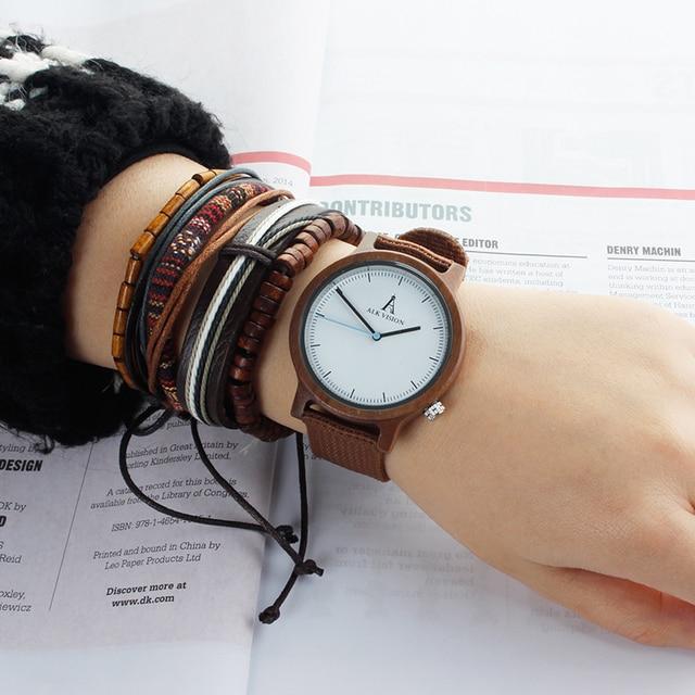Alk Vision Mens Houten Horloge Mannelijke Hout Canvas Nylon Strap Eenvoudige Sport Quartz Horloge Vrouwen Dames Polshorloge 2018