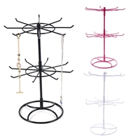 Metal Necklace Bracelet Chain Rotation Hanging Jewelry Display Rack Stand Holder T15