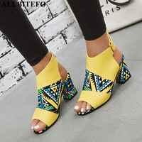 ALLBITEFO 本革の女性のかかと高細いヒールポインテッドトゥの靴オフィスセクシーな女性靴ファッションガールズ靴女性