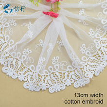 13cm width Cotton embroid  lace sewing ribbon guipure trims or fabric warp knitting DIY Garment Accessories free shipping#3596