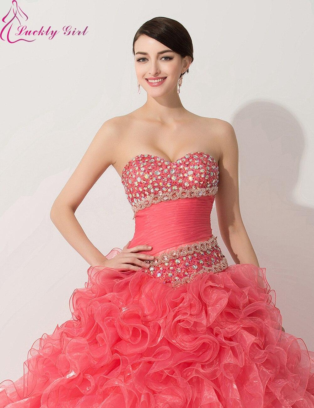 Hot Red vestidos de quinceañera baratos Sweetheart Ruffles brillante ...