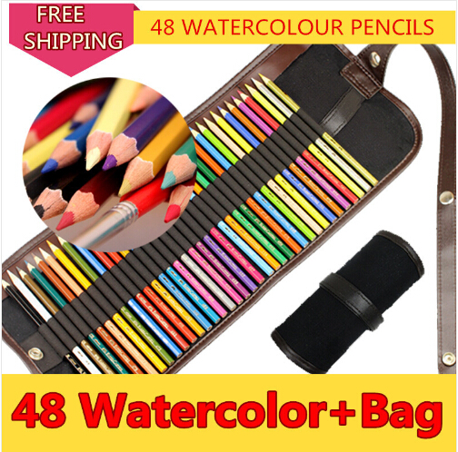 24/36/48/72 Colors Watercolour Pencil/ Watercolor Water Solutable Drawing Pencils Non-toxic Set Uni Colored Pencil Case Bag drkanol women sandals 2018 genuine leather flat gladiator sandals for women summer casual shoes peep toe slip on vintage sandals