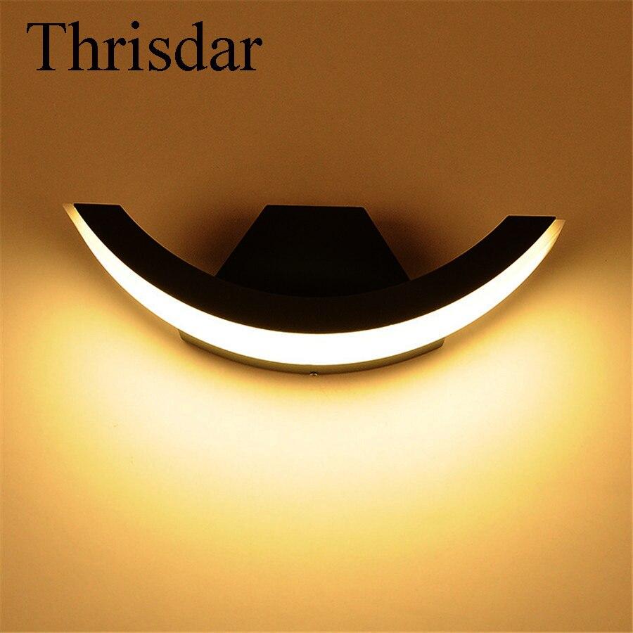 Thrisdar 8 Вт Водонепроницаемый Бра Открытый сад крыльцо свет Алюминий балкон двор отель Вилла за пределами Освещение приспособление