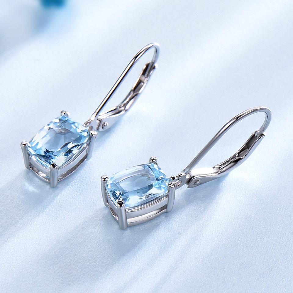 UMCHO prirodni nebo plavo Topaz Drop naušnice Pravi 100% srebrni 925 - Fine nakit - Foto 2