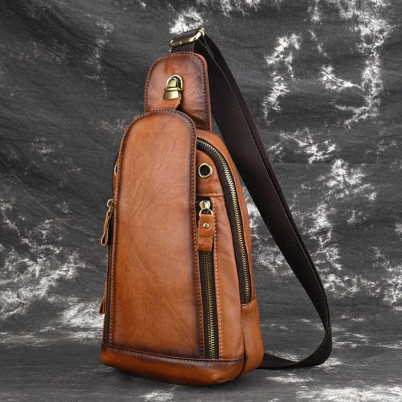 自然な肌の男性メッセンジャー胸バッグショルダークロスボディバッグ高品質レトロ本革リュックサックバックパック