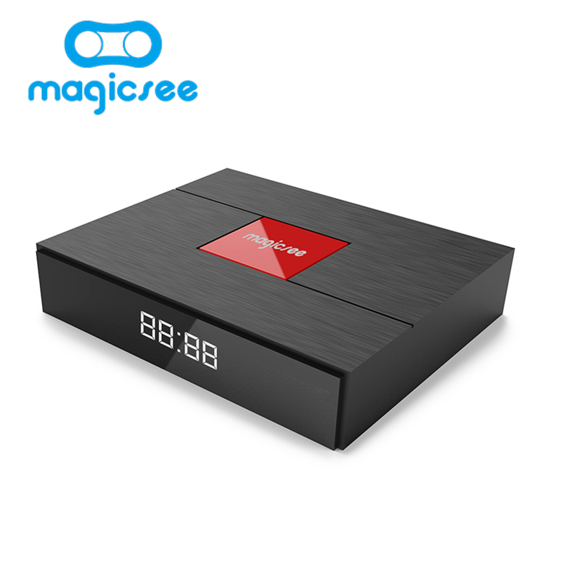 Magicsee C400 Plus Amlogic S912 Octa Core TV Box 3+32GB Android 4K Smart TV Box DVB-S2 DVB-T2 Cable Dual WiFi Smart Media Player getihu portable mini bluetooth speakers wireless hands free led speaker tf usb fm sound music for iphone x samsung mobile phone