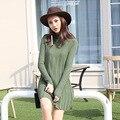 Осень Платье Женщины Свободно Длинными рукавами Зимой Теплый Свитер Белый Зеленый A-line Пуловеры Трикотажные Платья Vestidos