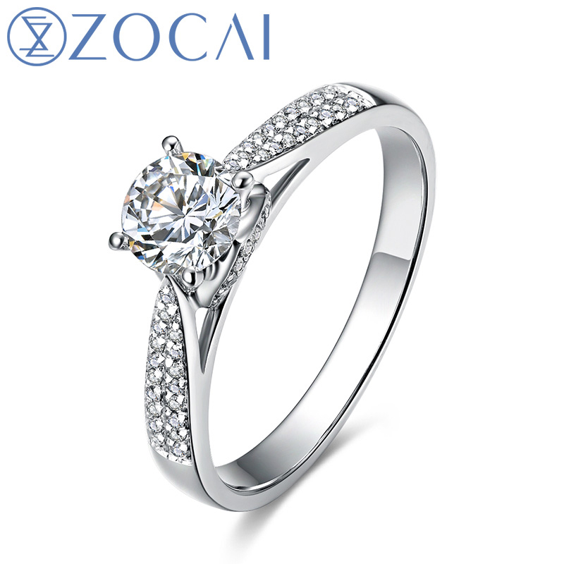 ZOCAI For Love Real 0.5 CT Certified D-E/SI Round Cut Diamond Engagement Women Ring 18K White Gold (AU750) W03404