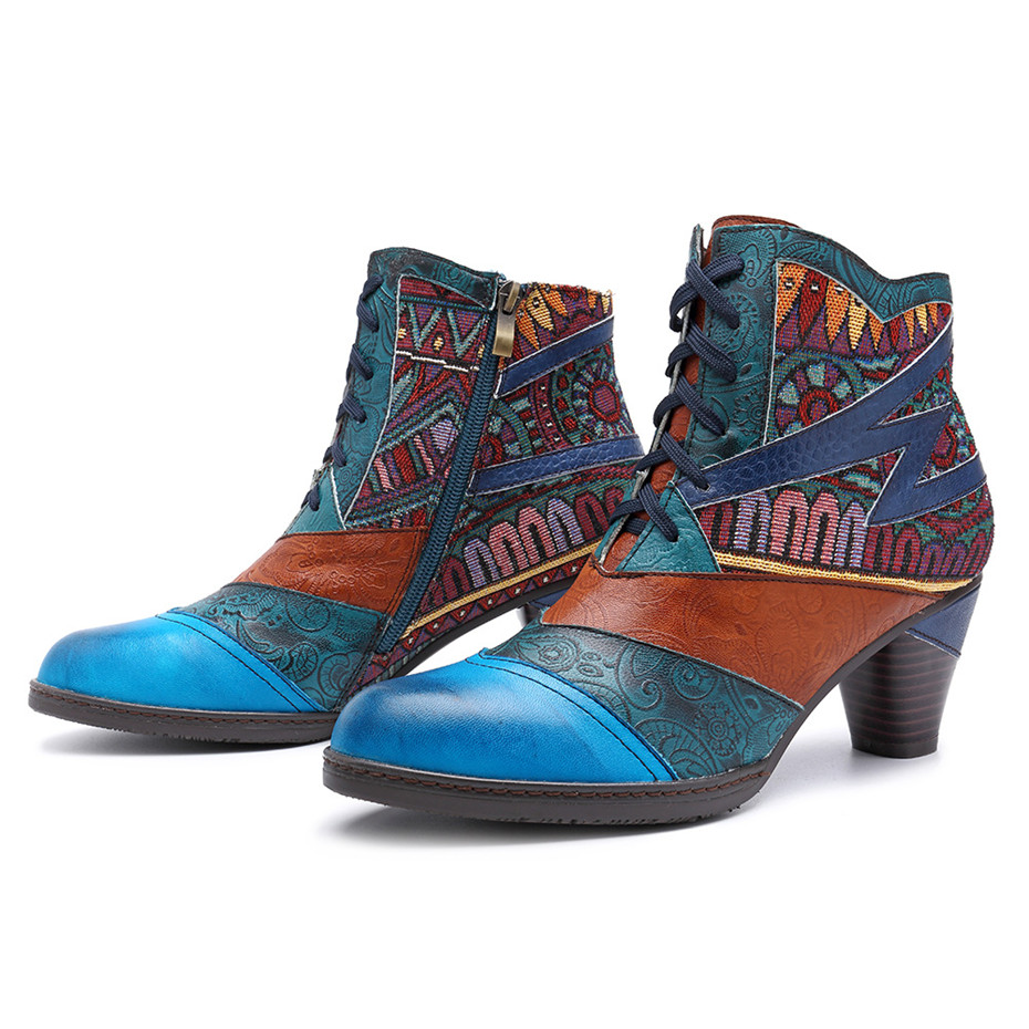 D Knight Bohemian Splicing Women Boots Retro Genuine Leather Shoes Woman Zipper Mid Heels Ankle Boots Spring Autumn Women Shoes (8)