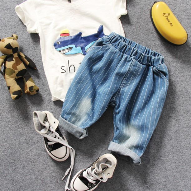00eaeffbbdd only jeans 1pc new 2017 summer boys stripe middle denim pant boys jeans  children jeans kids summer pant