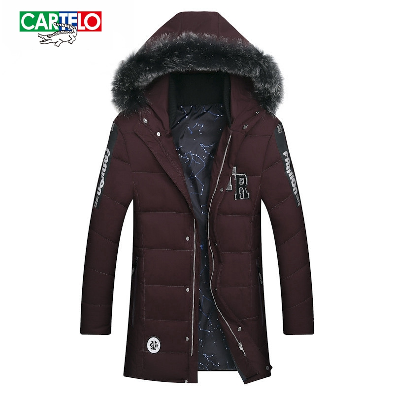 CARTELO 2017 winter men's new men's cotton clothing in the long section of thick wool collar cotton jacket hood jacket sky blue cloud removable hat in the long section of cotton clothing 2017 winter new woman