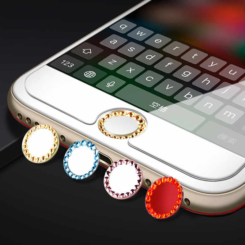 SIANCS Bling Rhinestone Home przycisk naklejka pokrywa dla iPhone 7 8 Plus 6 6s 5s dla iPad wsparcie Touch ID rozpoznawanie linii papilarnych