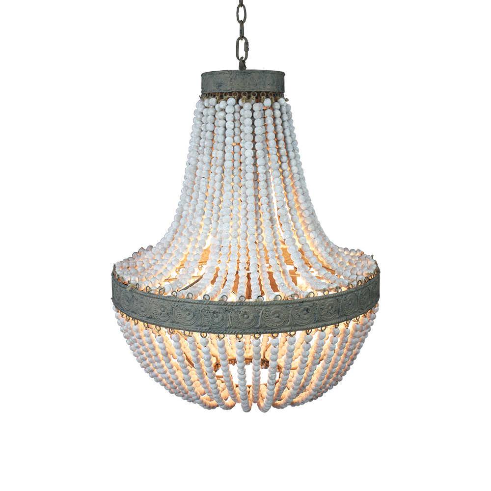 Ретро-чердак старинные деревенские круглые деревянные бусины подвесной светильник E27 привели подвесные светильники декор фары современный для гостиной гостиничная кухня
