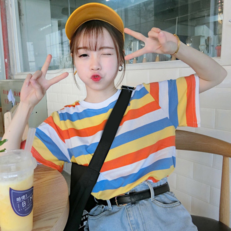 YouGeMan Woman Summer Tshirt Top 2018 Korean Ulzzang Harajuku Rainbow Striped Short Sleeve T-shirt Women Casual O-neck Tee Shirt