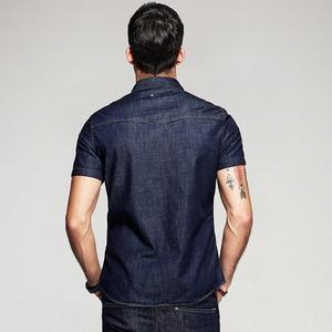Image 3 - KUEGOU Summer Mens Fashion Denim Shirts Blue Color Pockets Brand Clothing Mans Wear Short Sleeve Slim Fit Jeans Clothes 15502