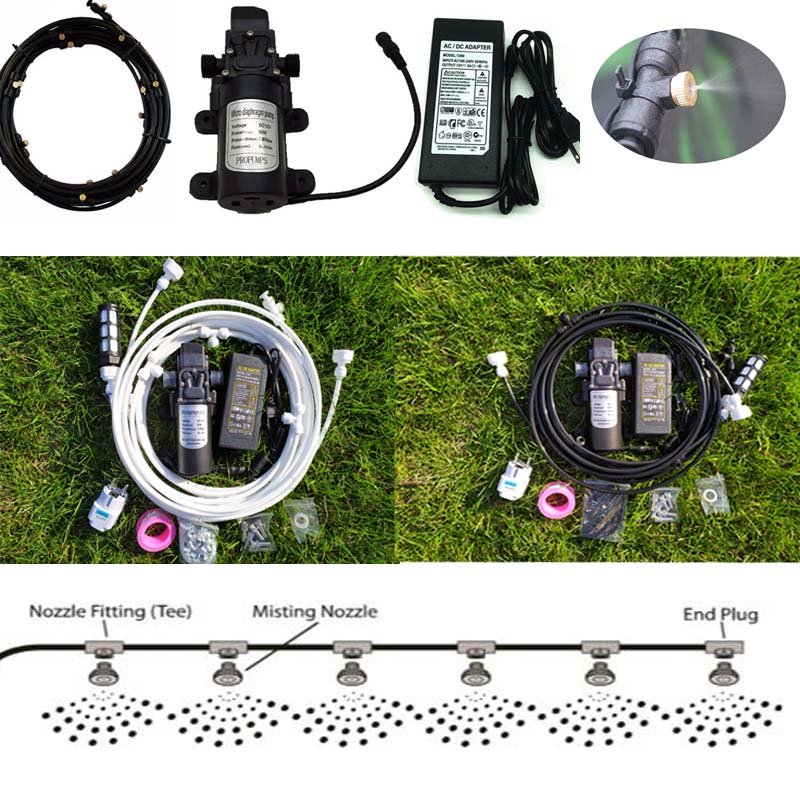 6M~18M Black Garden water mist spray with Pump and Power Adapter for flowers plant greenhouse garden irrigation misting system
