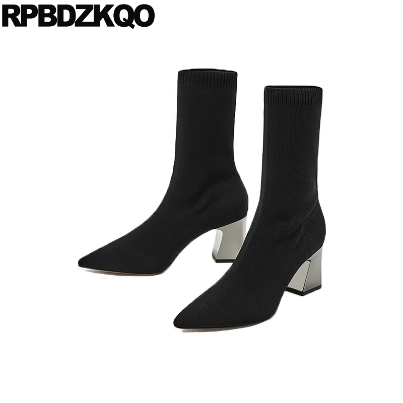 Boots Luxury Brand Shoes Women Lycra Fur Designer Winter Sexy Mid Calf High Heel Chunky Slim Pointed Toe Black Stretch Chinese pointed toe silver women mid calf boots short booties fashion luxury brand star runway dress zippered shoes sexy high thin heel