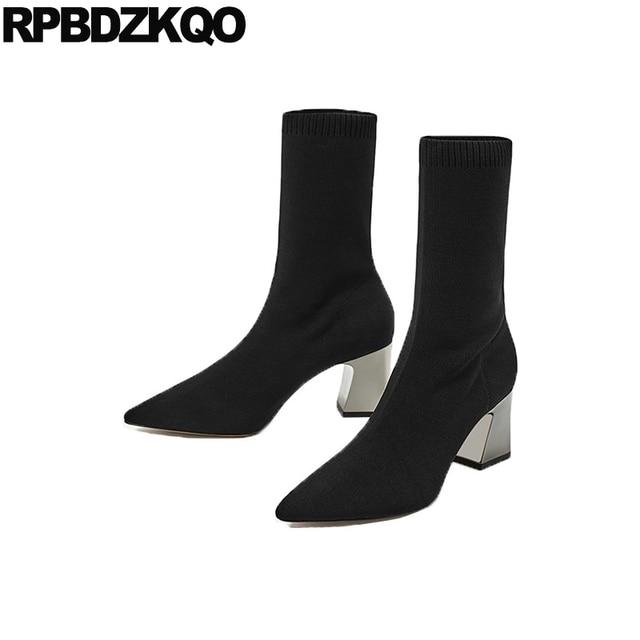 Boots Luxury Brand Shoes Women Lycra Fur Designer Winter Sexy Mid Calf High  Heel Chunky Slim