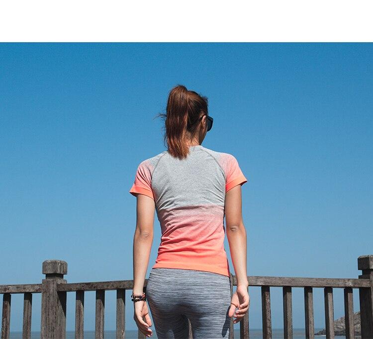 Gymnastik Frauen Sport Shirts Schnell Trockenlaufendes T-Shirt Ärmel - Sportbekleidung und Accessoires - Foto 2