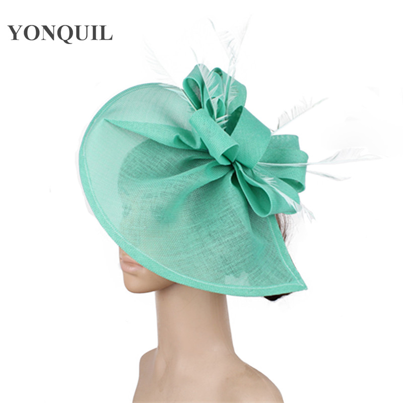 Emerald Green Fashion Race Hair Fascinators For Wedding Hats Women Elegant Party Wedding Headwear Feather Hair Accessories SYF66